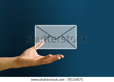 Hand carry the mail icon, You got mail concept - stock photo