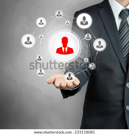 Hand carrying businesspeople icon network - HR, HRM, MLM & teamwork concepts - stock photo