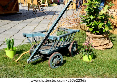 Hand Cart with potted Plants - stock photo