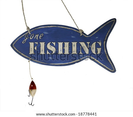 Hand Carved hanging wooden Gone Fishing Sign with hook - stock photo