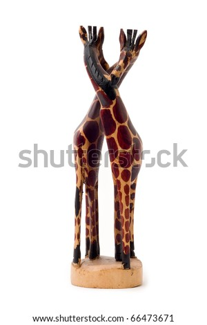 Hand Carved Wooden Giraffe Couple Sculpture - stock photo