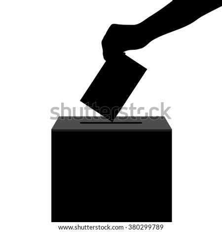 Hand casts ballot in the ballot box in elections silhouette - stock photo