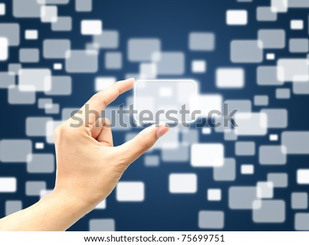 Hand catch big touch screen - stock photo
