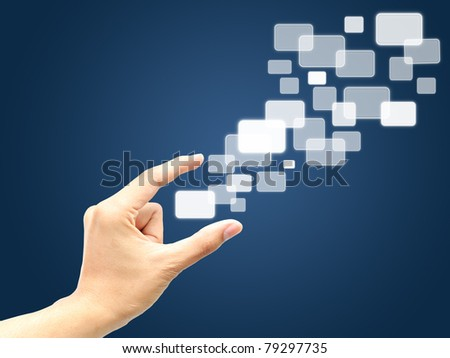 Hand catch touchscreen - stock photo