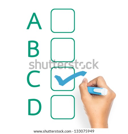 Hand check the choice with blue pen isolated on white background - stock photo