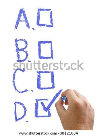 Hand check the choice with chalk on white background - stock photo