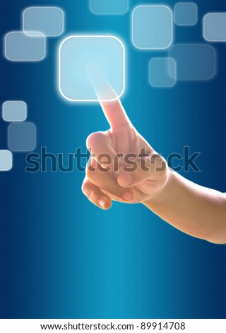 hand child pressing many touchscreen modern button - stock photo