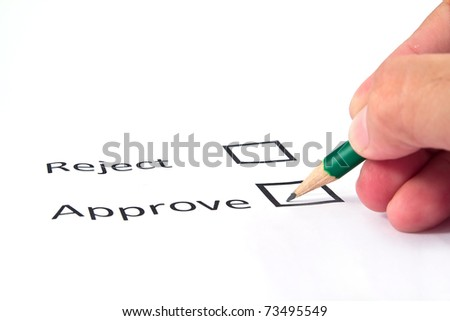 Hand choosing approve on white paper background