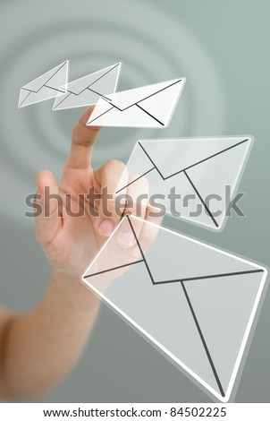 Hand choosing email with wave effect, Email concept