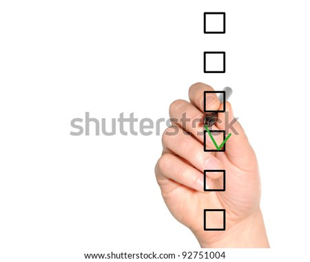 Hand choosing one of six options - stock photo