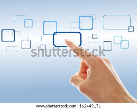 hand choosing one of the different options on blue background - stock photo