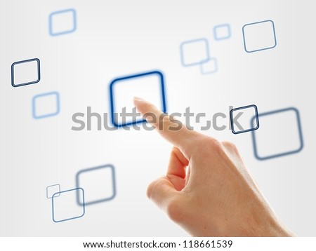hand choosing one of the different options on grey background - stock photo