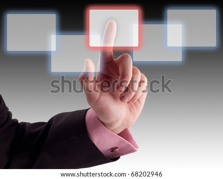 Hand choosing one of the options. - stock photo