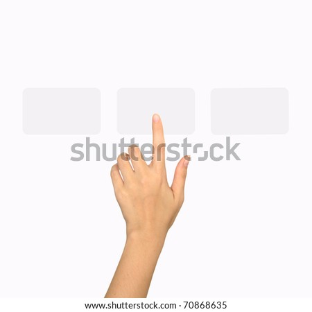 Hand choosing one of the options - stock photo