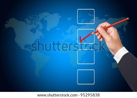 Hand choosing one  options - stock photo