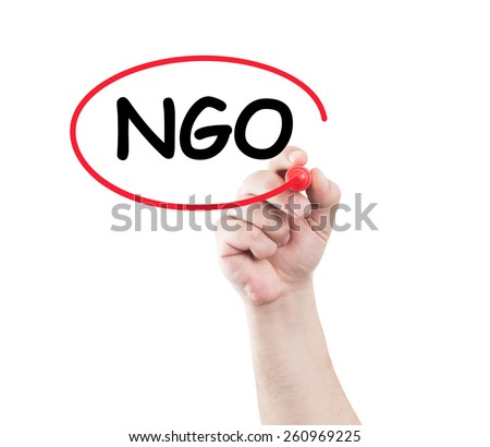 Hand circle ngo text on transparent wipe board with white background and copy space. Non governmental organization concept - stock photo