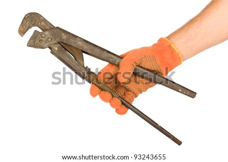 Hand clasp a pipe wrench on white  isolated background - stock photo
