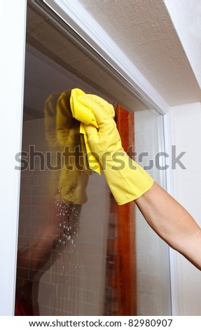 Hand cleaning window.