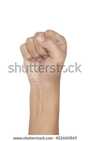 hand clenched fist isolated on a white background