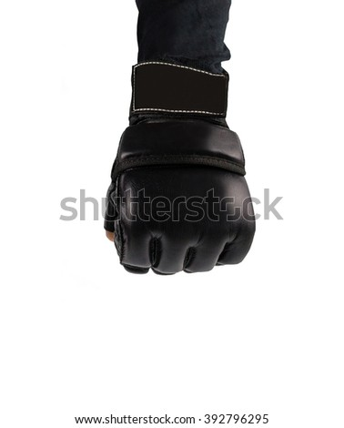hand  clenched into fists fighter. hand in glove for martial arts. places to combat the logo. - stock photo