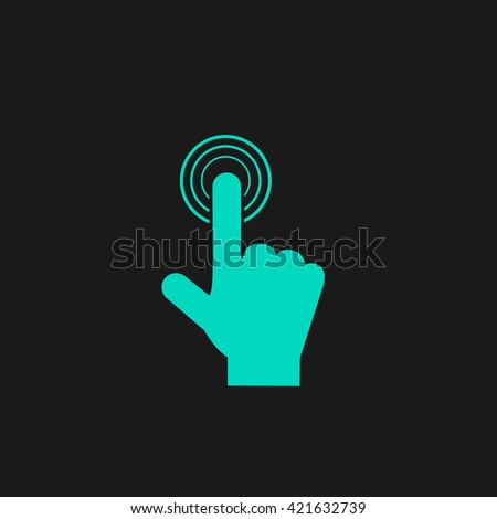hand click Flat icon on black background. Simple symbol - stock photo