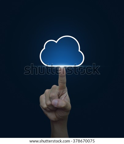 Hand click on cloud icon with copy space on blue background, Cloud computing concept