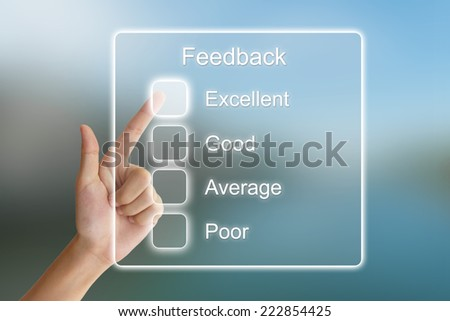 hand clicking feedback on virtual screen interface  - stock photo