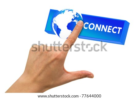 Hand clicking on blue connect button