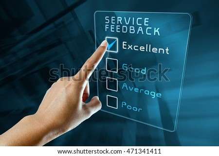 hand clicking online customer service feedback survey on virtual screen interface
