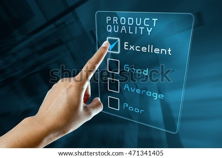 hand clicking online product quality survey on virtual screen interface