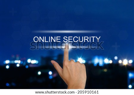 hand clicking online security button on a touch screen interface  - stock photo