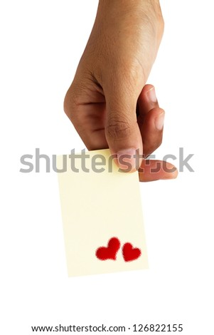Hand Close Up of An Empty Card in A Hand with Red Heart Icon with Copy Space for Add Content or Picture - stock photo