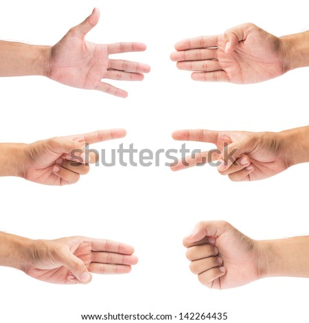 hand collection on isolate white background
