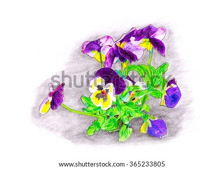 Hand color drawn flowers bouquet Raster 5