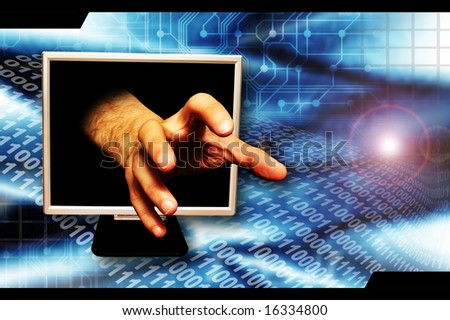 hand coming out of a computer monitor screen as concept for internet crime - stock photo