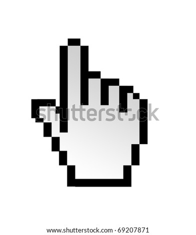 Hand computer pointer isolated on white background - stock photo