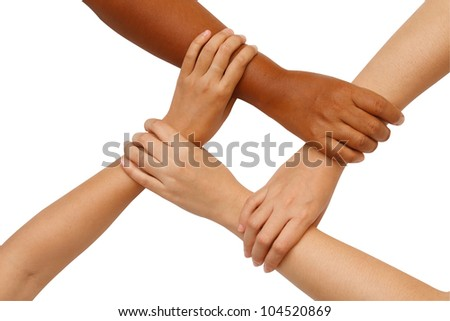 Hand coordination ,Multiracial hands holding each other in unity - stock photo