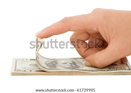 Hand counting money isolated on white background - stock photo