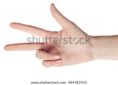 hand counting - three fingers. Isolated on white