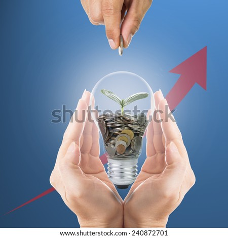 Hand cover growing money coins with bulb idea for investment in the future. - stock photo