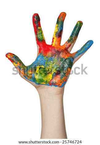 Hand covered in paint - stock photo