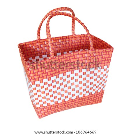 hand craft plastic basket isolated white - stock photo