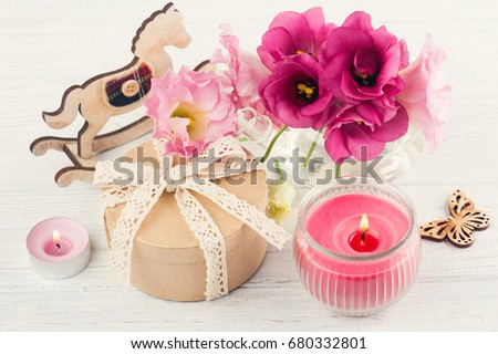 hand crafted gift lit candles red stock photo edit now 680332801