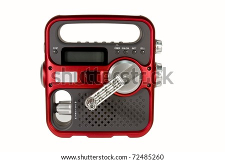 hand crank powered emergency radio isolated over white background with clipping path at original size