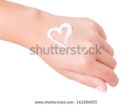 hand cream isolated on white background - stock photo