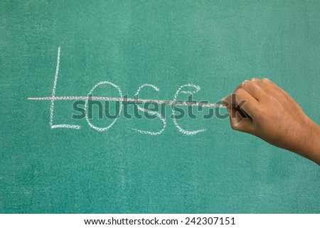 Hand crosses the lose on the chalkboard. - stock photo