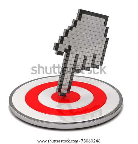 Hand cursor and target - stock photo