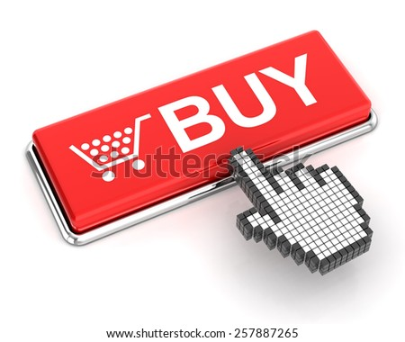 Hand cursor clicking a buy button, 3d render - stock photo