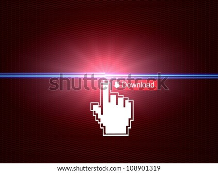 Hand cursor connecting download button - stock photo