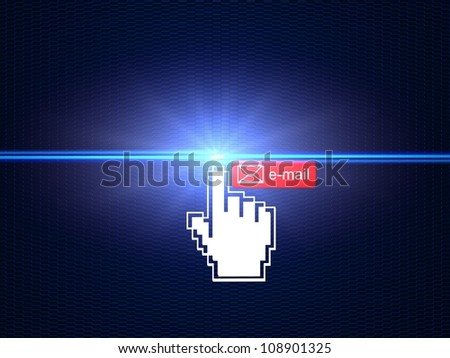 Hand cursor connecting e-mail button - stock photo